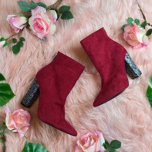 Cape Robbin Red Glitter Block Heel Boots Booties 9
